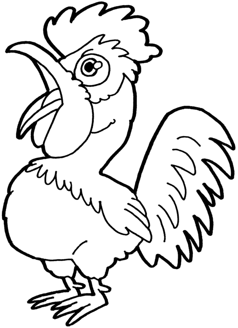 Clipart Rooster BW-1